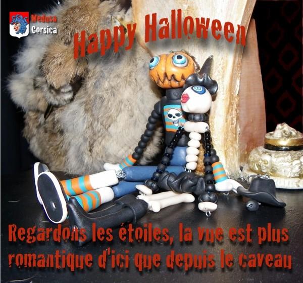 Clair de Lune pour Halloween, medusette zombie et jack o'lantern en amoureux ;-)