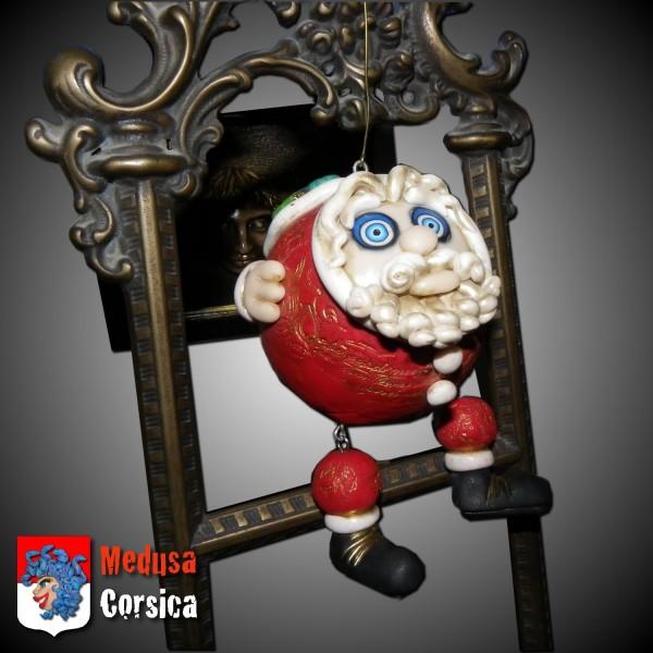 décoration de Noël, boule Père Noël avec hotte, polymère et pigments