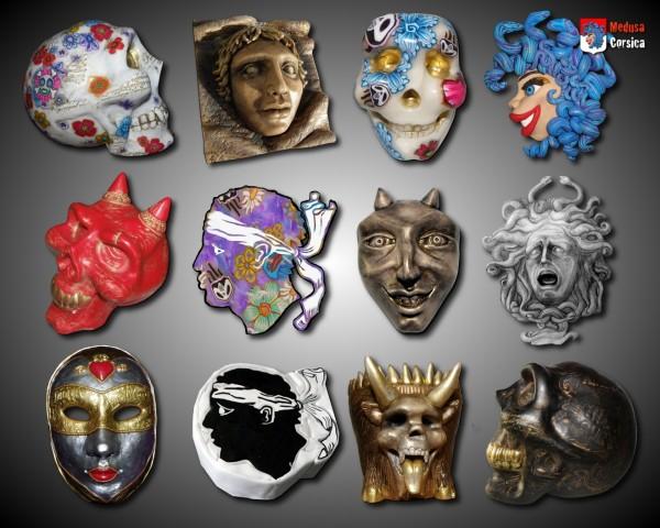 Série de visages et têtes modelées et sculptées en argile polymère.