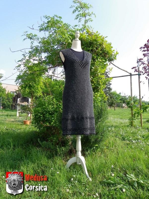 robe en laine grise au crochet (LIMA-tonnerre/laine+alpaga)