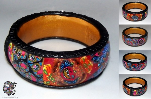 Bracelet maxi-millefiori tout en argile et tranches de cannes