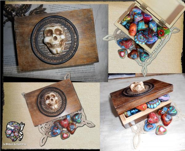 boite en bois et décor d'argile crâne fluo