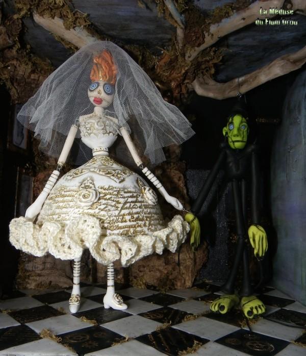 Mariage haute couture entre la créature de Frankenstein et sa fiancée