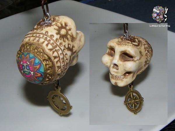 Grigri crâne fluorescent décoré avec millefiori