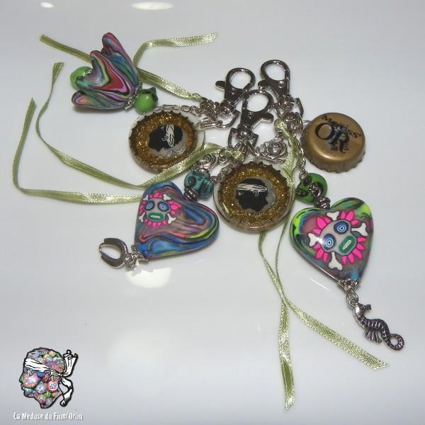 grigris corsica à paillettes avec des coeurs multicolores