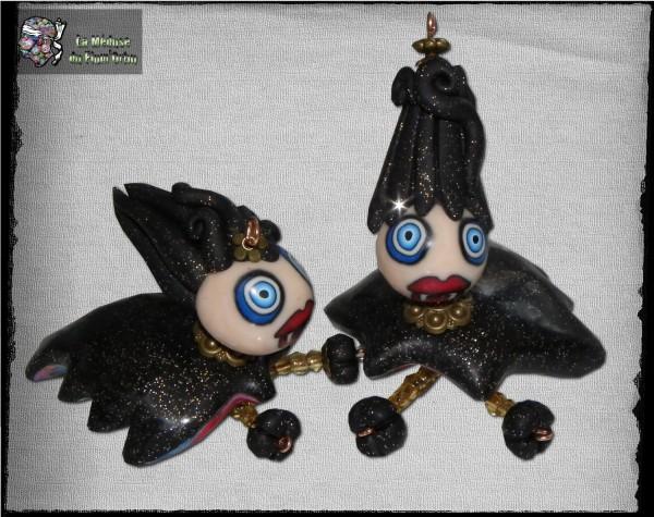 duo de medusettes vampires à cheveux noirs paillettes