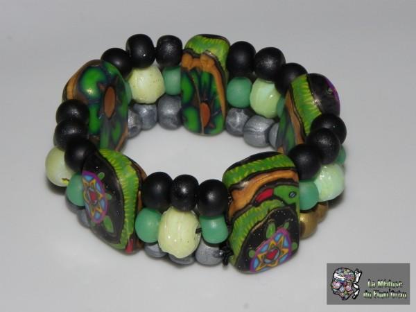 Bracelet 3 rangs canne tortue enroulée dans serpent et perlines bleu nuit vert et bleu nacré