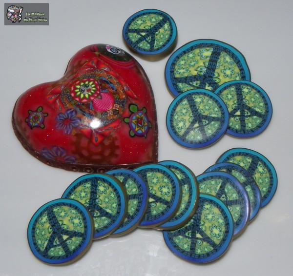 Millefiori Peaceandlove-paris faits avec le coeur