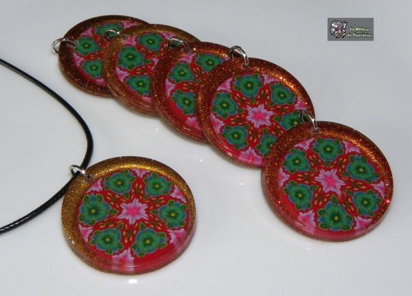 Médailles tranches de millefiori à six facettes en inclusion pailletée
