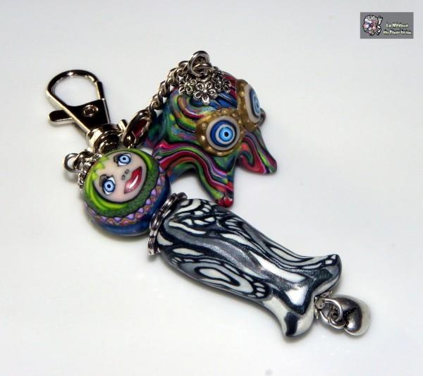 Grigri sirène à joli minois et copain poulpe