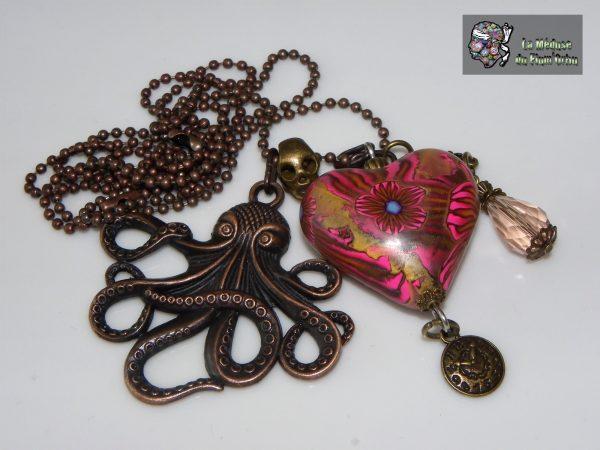 Breloques bronze rosé et coeur rose et rouge