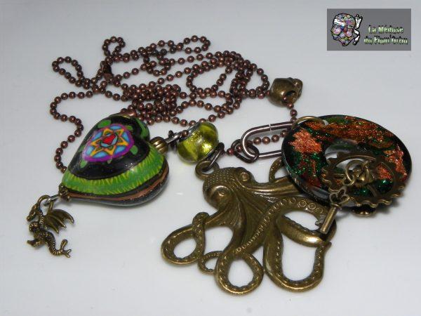 Rétro breloques de bronze avec coeur de serpent et roue à engrenage