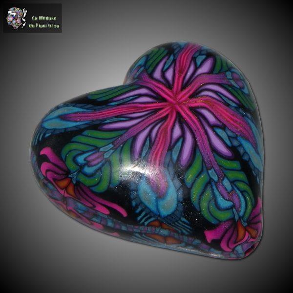 coeur à motif millefiori de type kaleidoscope
