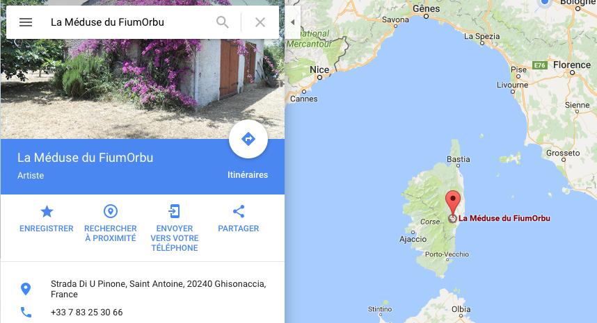L'atelier sur Googlemap