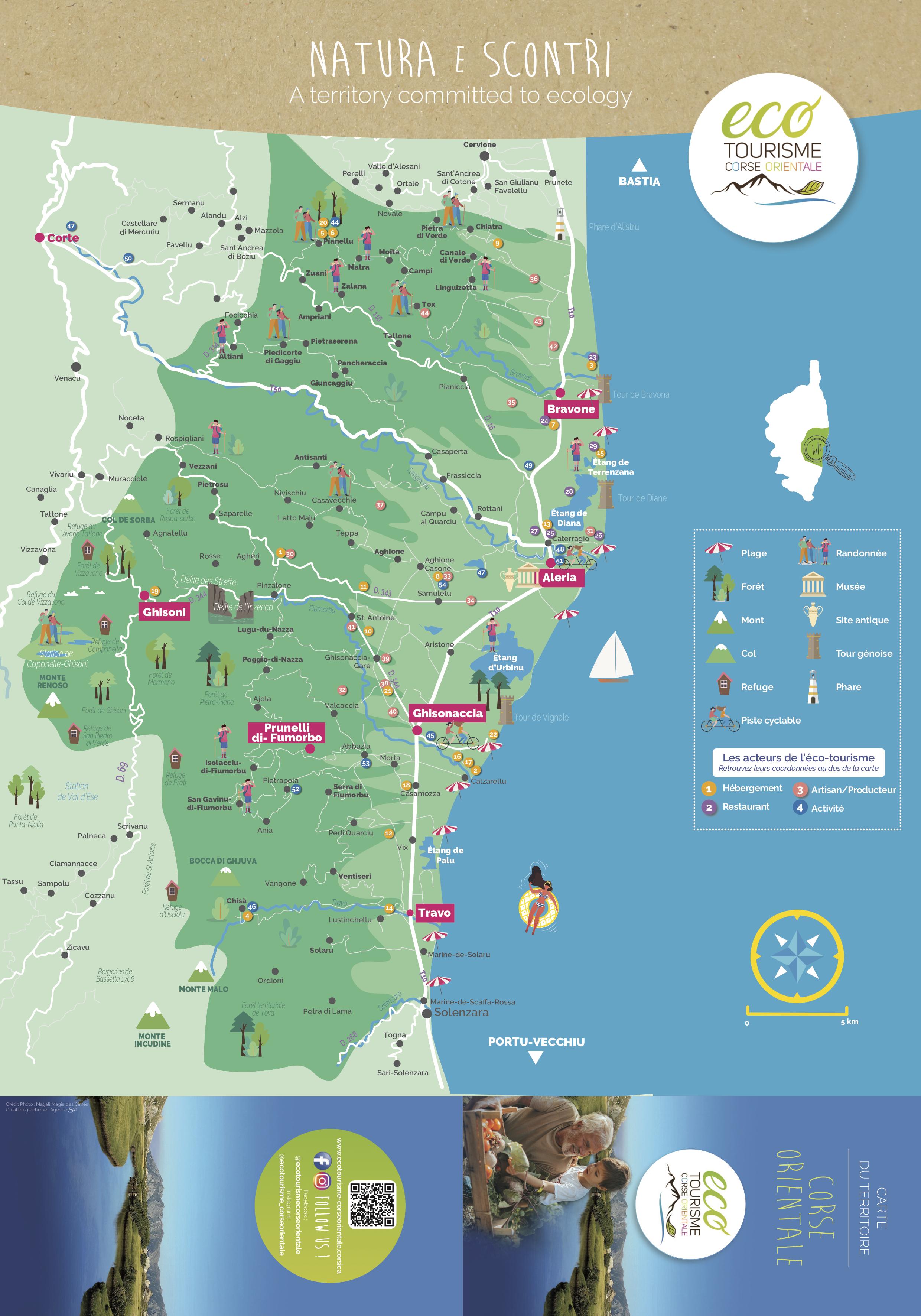 Carte de l'Ecotourisme en Corse Orientale 2020