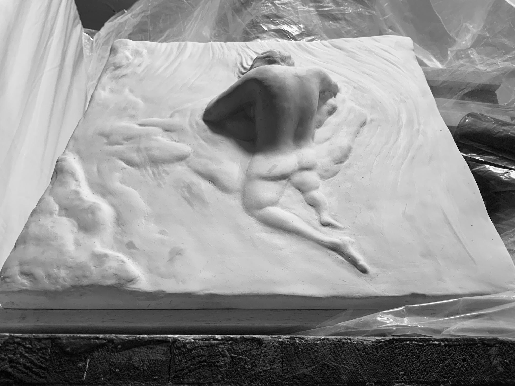 Bas-relief la sieste positif en plâtre